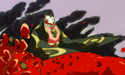 thick dad and a sea of poppies by Krokodilov