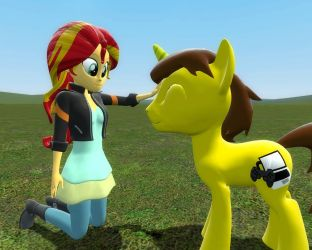 Cyber gamer and human sunset shimmer (Gmod gift) by Digigex90