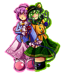 Satori and Koishi Komeiji by Amandinde