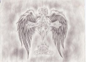 Winged celtic cross by TimberTime