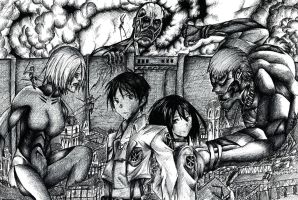 Attack On Titan Pen Drawing by Mixielion