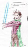 Frodo with lightsaber by Mistress-D