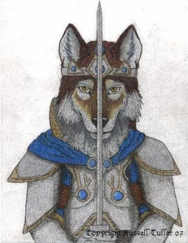 Wolf Anthro with Sword by RussellTuller