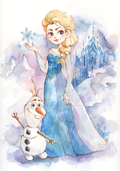 Elsa and Olaf (Frozen) by dragonfly-world