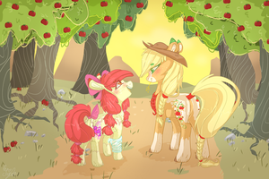 Mlp Aj And Apple Bloom by DashkaTortik12222222