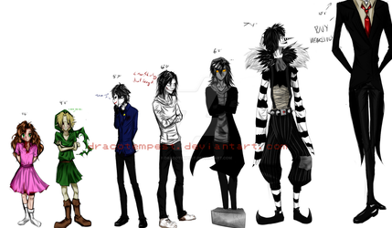 Creepypasta Height Comparison by DracoTempest