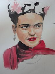 Frida Khalo (WIP) by Drunkskiomega