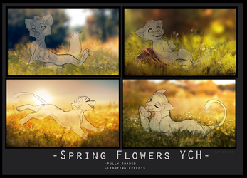 -Flower Crown YCH- (FULL RENDERED) AUCTION OPEN by Kitchiki