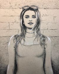 Portrait against wall in charcoal pencil by leversandpulleys