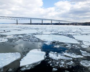Rhinecliff Bridge over the Icy Hudson River by foxvox