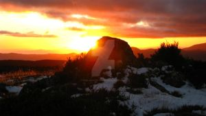 snowy sunrise rock by rose-creates--things