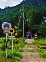 Shinto shrine beyond a railway crossing 1 by Furuhashi335