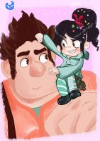Ralph and Vanellope by toriiichan