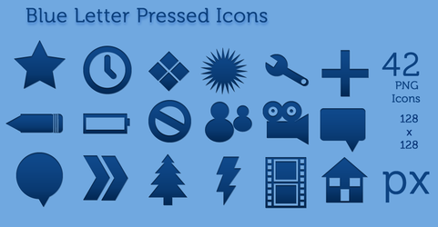 Blue Letter Pressed Icons by gabriela2400