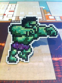 The Hulk cross stitch pin by fangy89