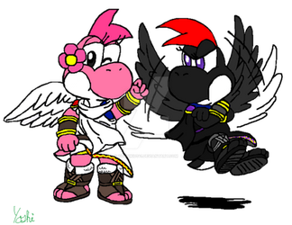 Pit and Dark Pit Cosplay :Colored In: by YoshiKid141