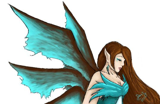 Teal and Brown Faery by SweetEnchantment