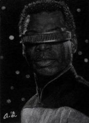 Geordi La Forge in charcoal by TinyAna