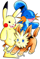 Pikachu, Mudkip, and Lillipup