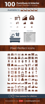 100 Pixel Perfect Furniture, Interior Vector Icons by Designbolts