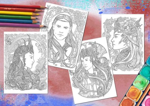 Elven Portraits - Colouring pages by JankaLateckova