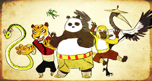 The Furious Five and the Dragonwarrior Okami Style by Shaiger