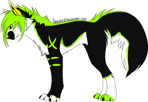Neon scene wolf adoptable CLOSED by Padded-Paws