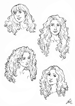 Some curly hair references by NikeMV