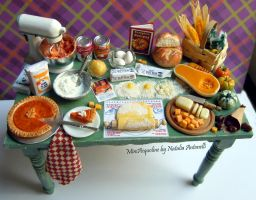 Let's make a pumpkin pie miniature dollhouse table by miniacquoline