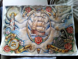 Ship, compass, lighthouse, crow flash page by kirstynoelledavies