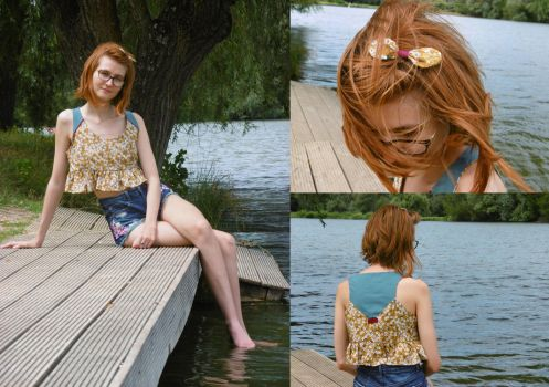 Thrifted Upcycle: Cute ruffle Crop Top by LualaDy