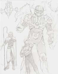 Orion, Darkseid, and Highfather by MHT002