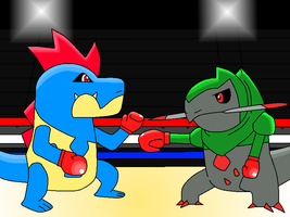 Boxing Croconaw and Fraxure