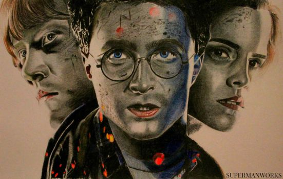 Harry Potter, Ron Weasley and Hermione Granger by supermanworks