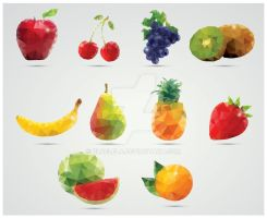 Collection of 10 Geometric Fruits by BlueLela