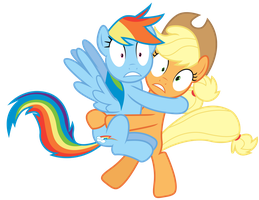 (SPOILERS!) Rainbow Dash and Applejack Spooked by RainbowDerp98