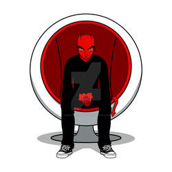 D for Devil on Ball Chair
