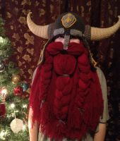 Horned helm with dark red beard by Drgibbs