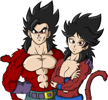 Rodeny and Leaka (Ssj 4) [OC Request] by GhoastGoat77