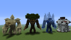 sandstone,wood,ice, and snowman golems by 321kye