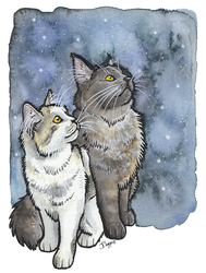 Two cats by lotusdogz
