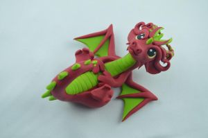 Red Dragon Figurine by claymeeples