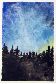 My first night sky painting by lonarin