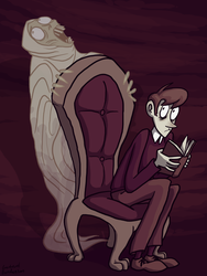 Reading a ghost story by Blondbraid