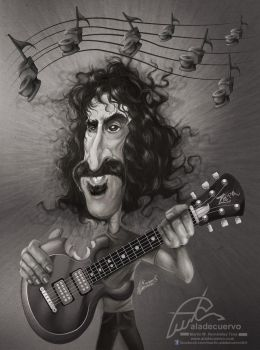 Frank Zappa cartoon tribute by aladecuervo