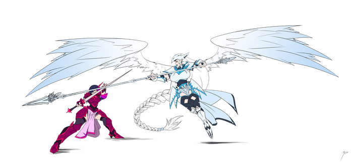 Humanized - Lt. Sparkle and Gertrude Sparring by crowmagnon