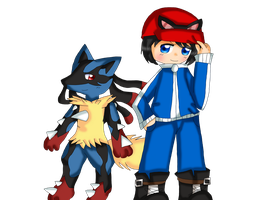 Calem and Mega Lucario by purplemagechan