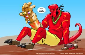 TLIID 390. Hellboy and the Infinity Gauntlet by AxelMedellin