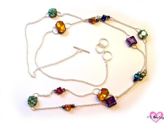 X-Long Colored Jewel Necklace by lessthan3chrissy