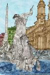 The fountain of Piazza Navona in Rome